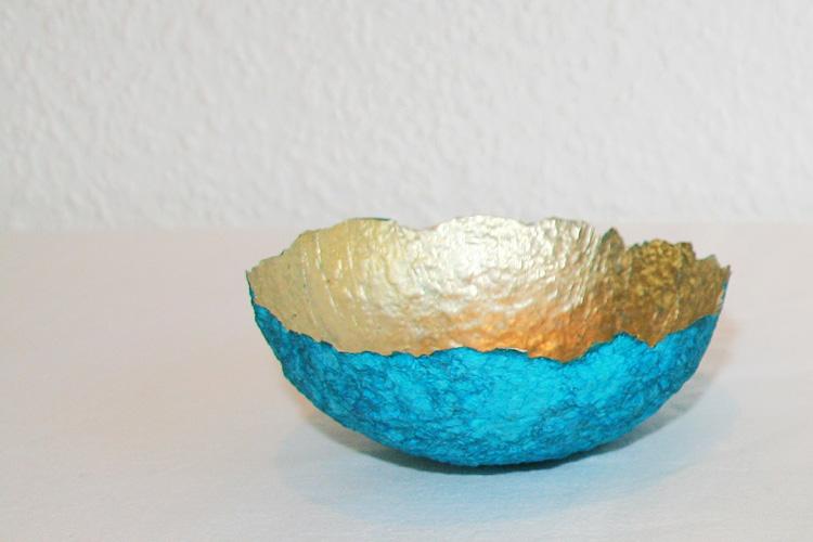 Deko- und Schmuckschale türkis/gold