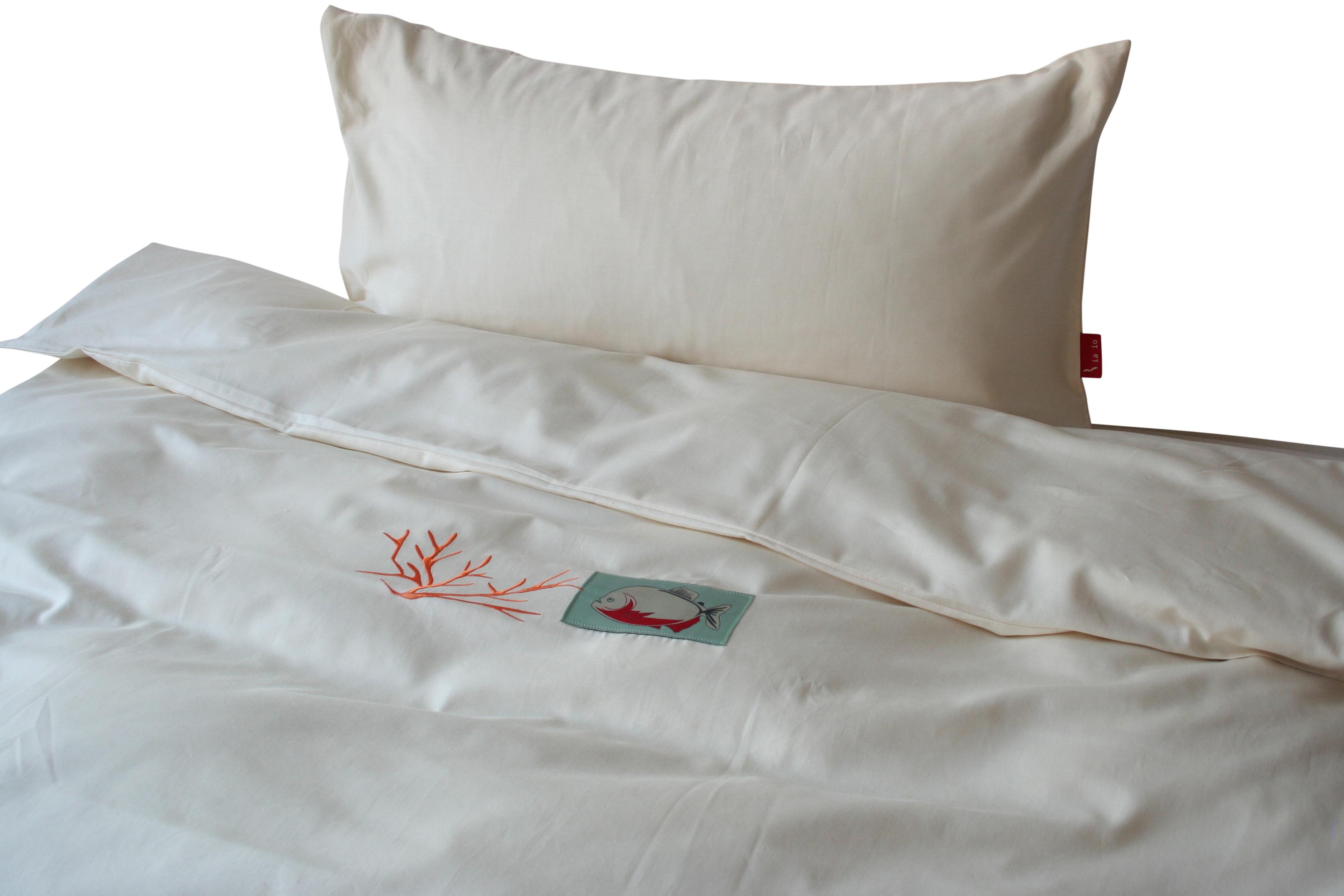 Bettwäsche aus Bio-Baumwolle Motiv Piranha & Koralle