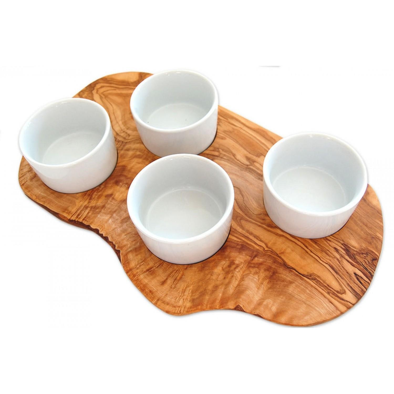 Olivenholz Servierbrett für Dips mit 4 Porzellanschalen | Olivenholz erleben