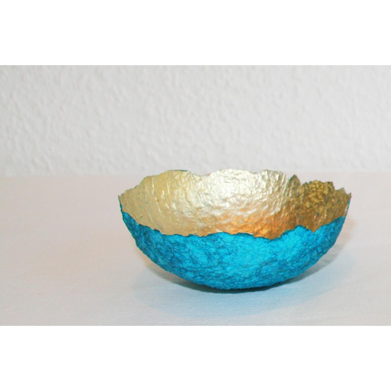 Deko- und Schmuckschale türkis/gold | Sundara Paper Art