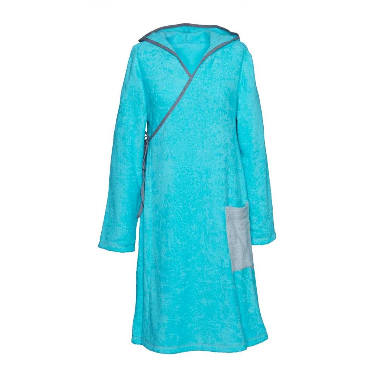 Frottee Wickelkleid Meerblau