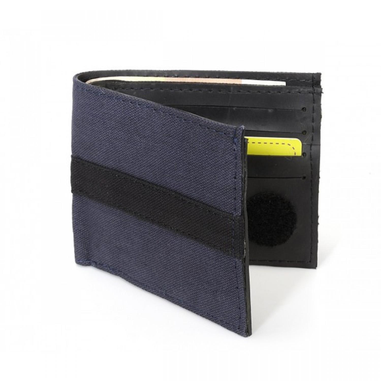 Kreditkartenetui aus recycelter Fallschirmtasche blau
