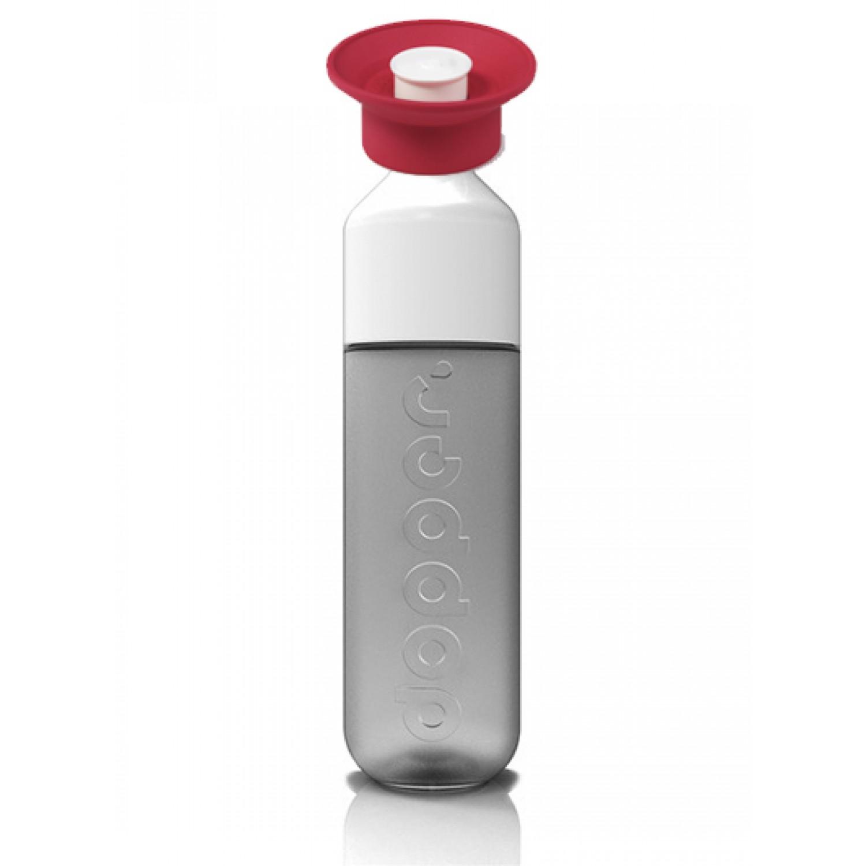 PURE WHITE Dopper Trinkflasche mit Sport Cap Rot
