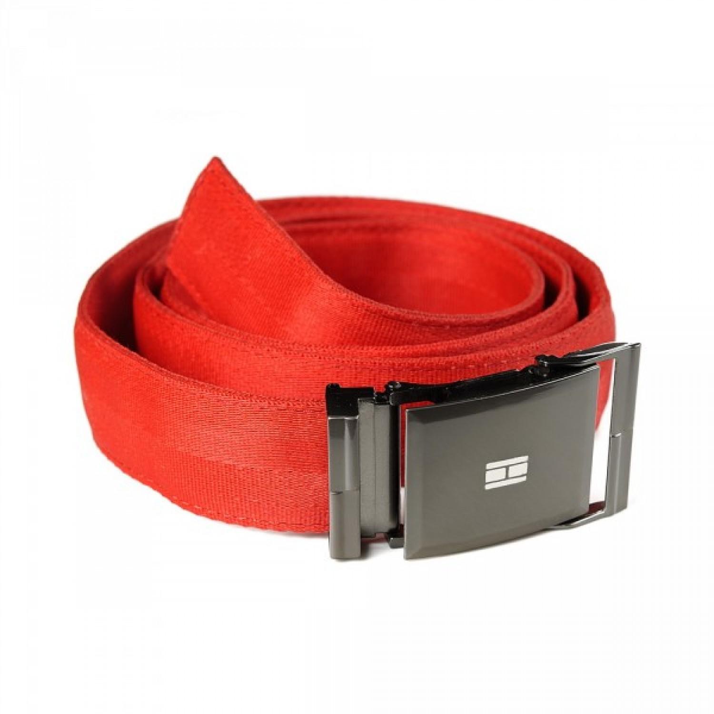 Upcycling Gürtel aus recyceltem Sicherheitsgurt in Rot