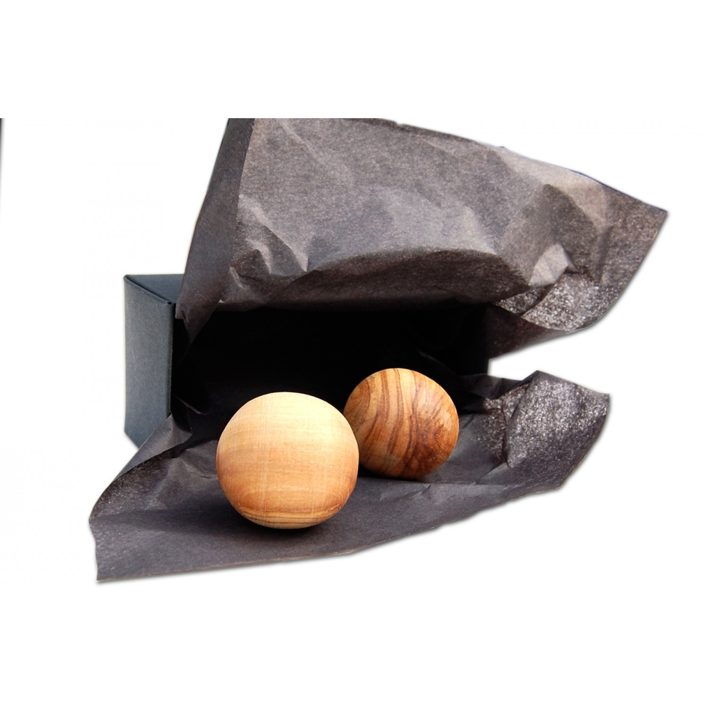 Anti-Stress-Kugeln aus Olivenholz in einer Box   Olivenholz erleben