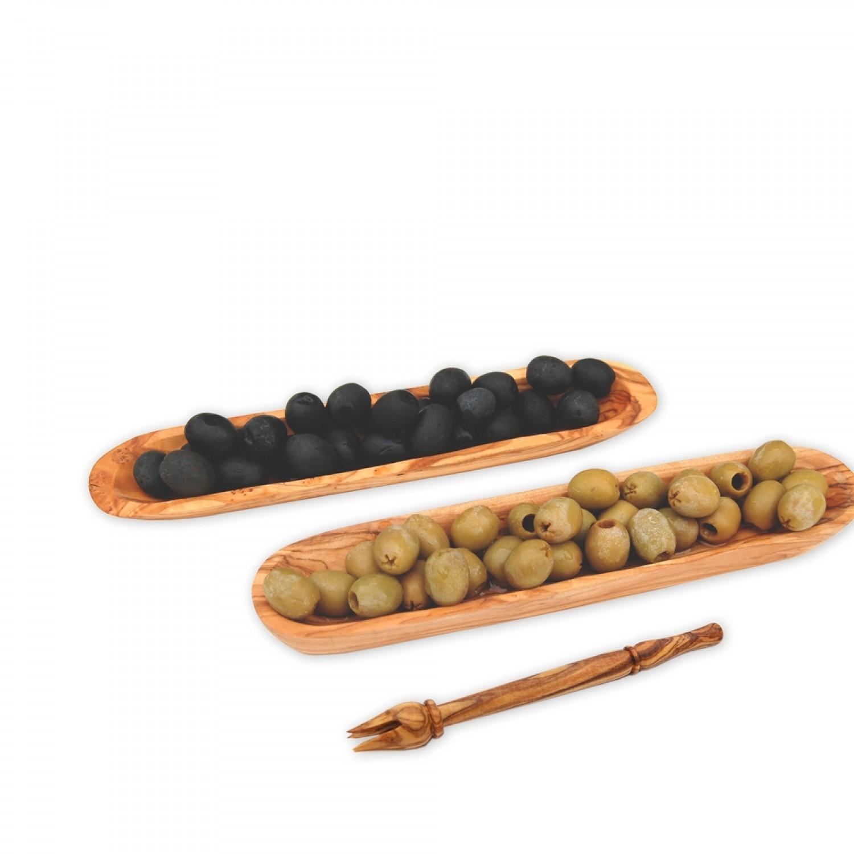 Olivenholz Servierschälchen für Oliven & Olivenpiker | Olivenholz erleben