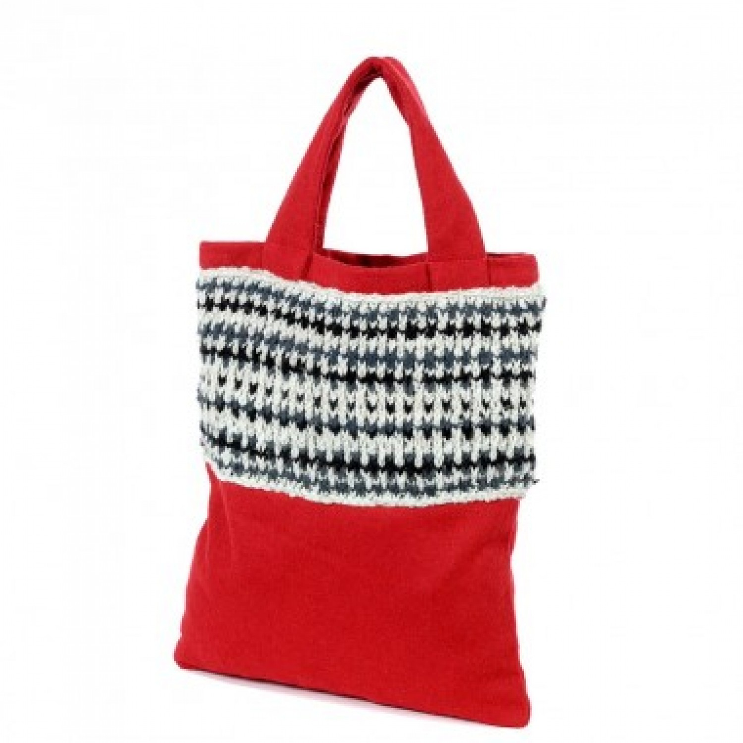 Upcycling Shopper aus roter Wolle + Filz