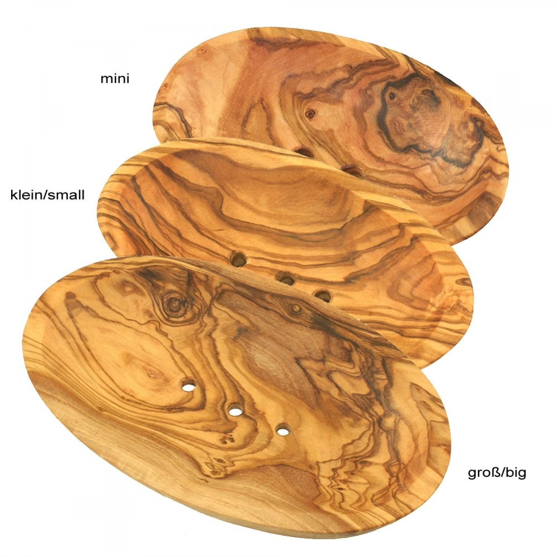 Olivenholz Seifenschale, oval, mit Ablauflöchern | Olivenholz erleben