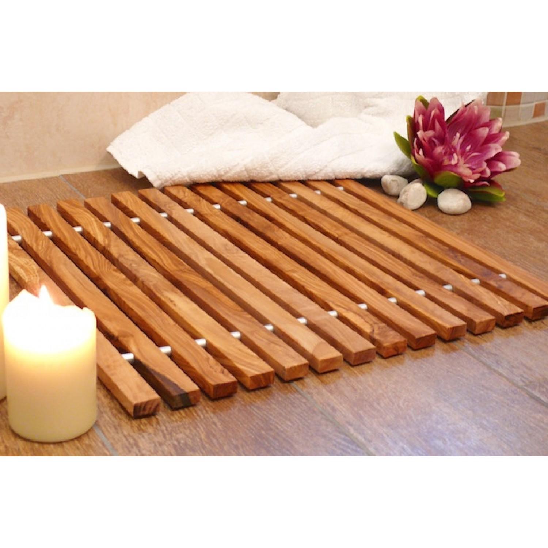 Badezimmermatte - Duschmatte aus Olivenholz 62x40 cm | Olivenholz erleben