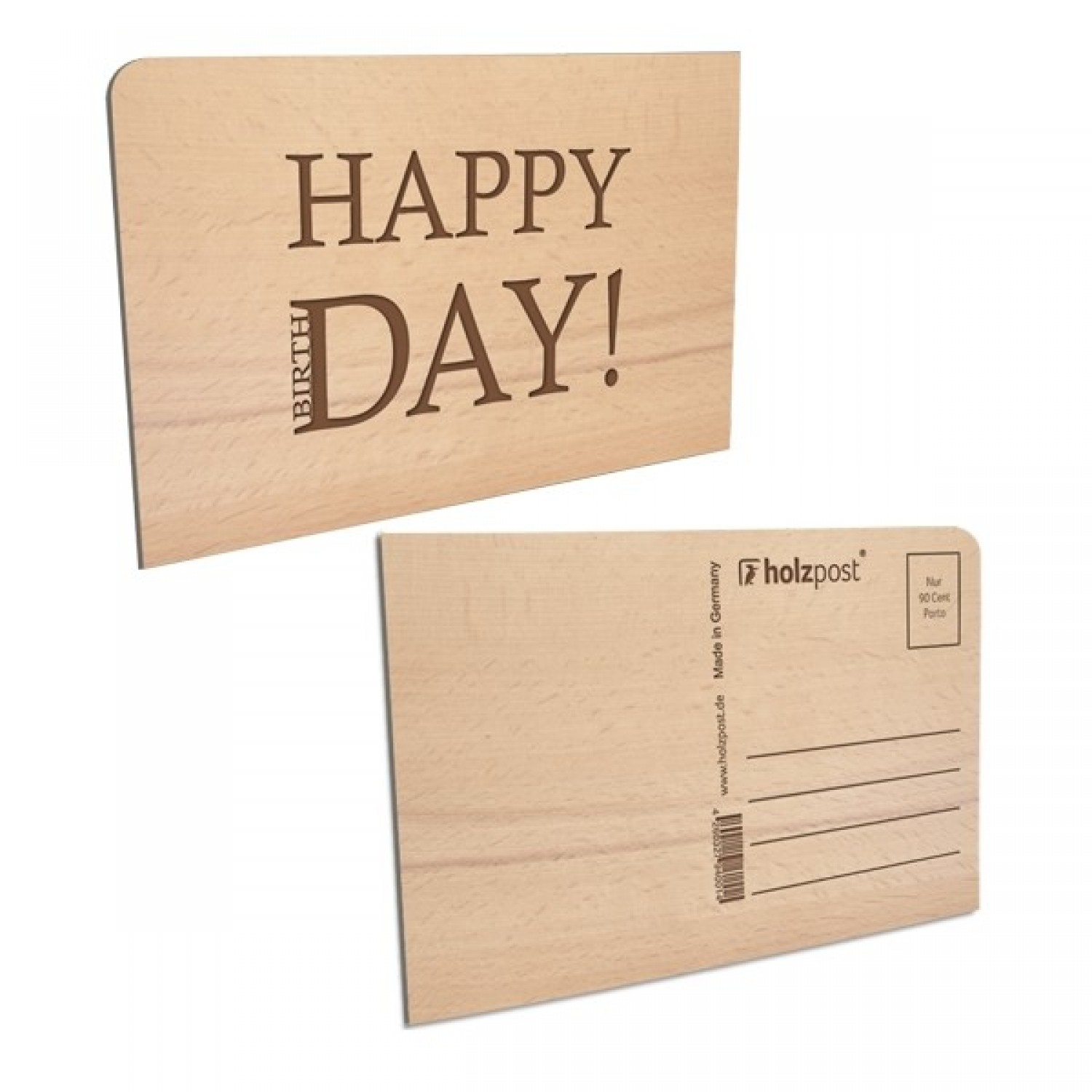Postkarte aus Holz – HAPPY DAY