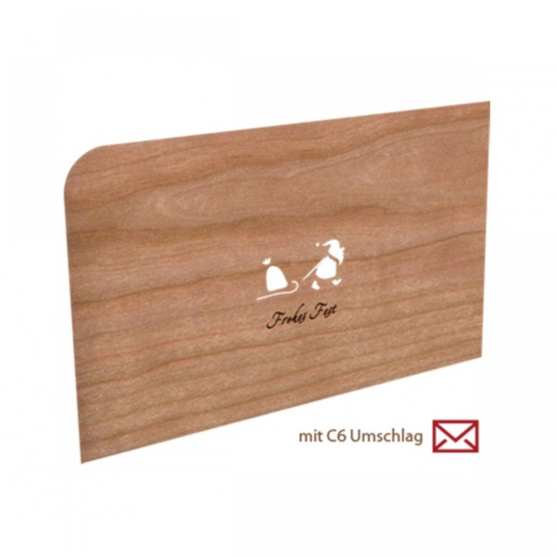Holz Weihnachtskarten.Weihnachtskarte Aus Holz Frohes Fest