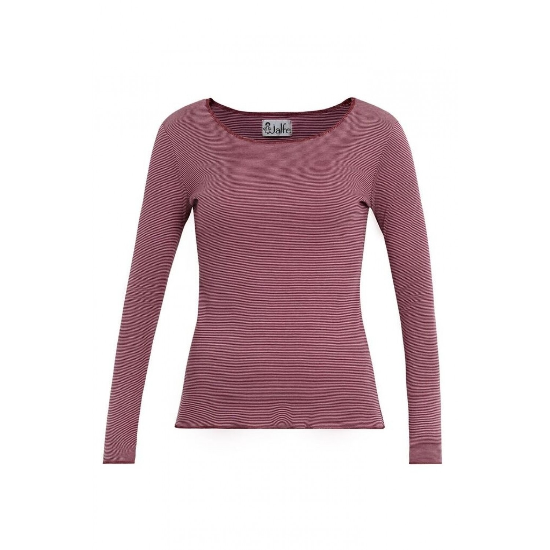 Jalfe Bio Langarmshirt in Rosa-Bordeaux gestreift für Damen