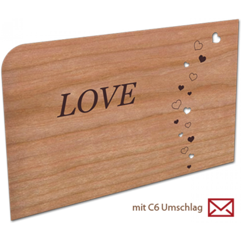 Grußkarte | Holzpostkarte – LOVE