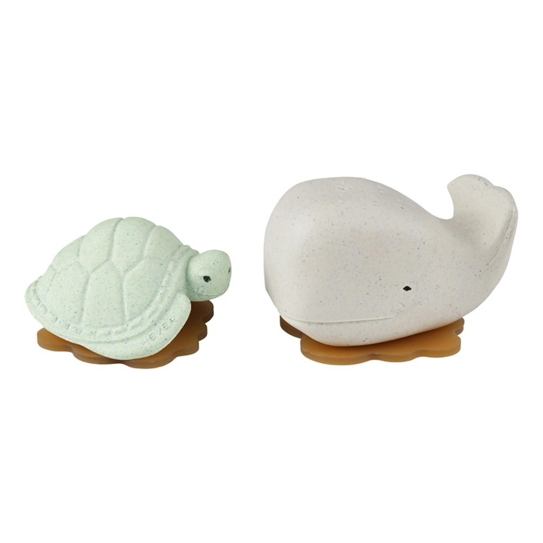 Hevea Squeeze'N'Splash upcycled Badespielzeug Wal & Schildkröte, Frosty White & Sage