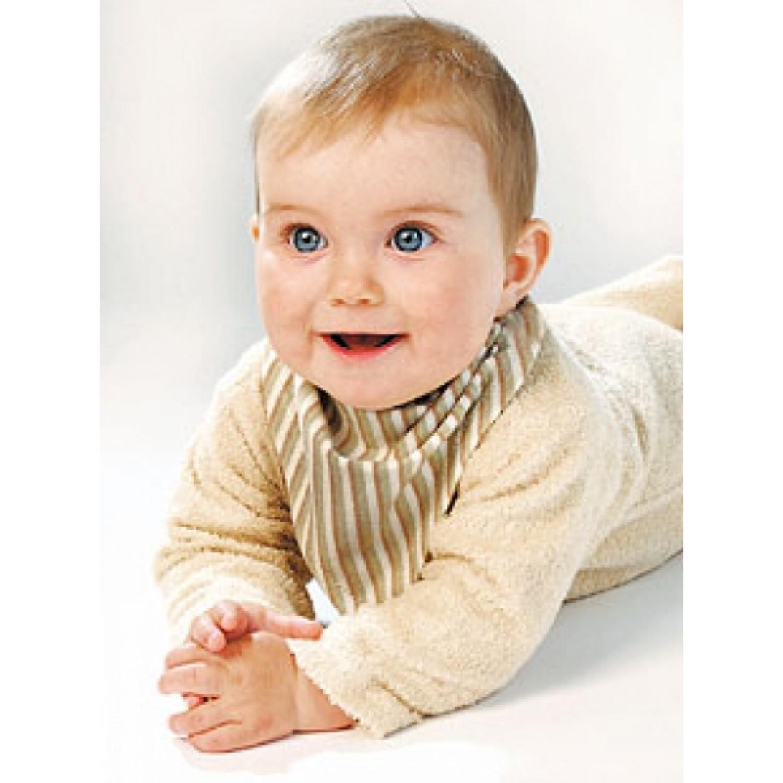 Baby Dreieckstuch Bio Baumwolle braun gestreift   iobio