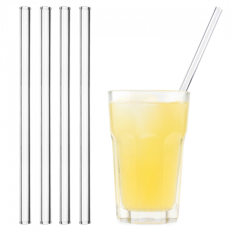 Glas-Trinkhalm gebogen 23 cm + Reinigungsbürste | Halm