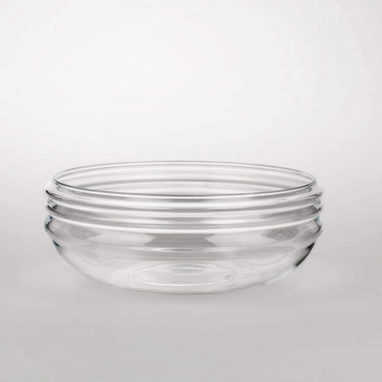 Glas Schale Patera Lebensblume weiß