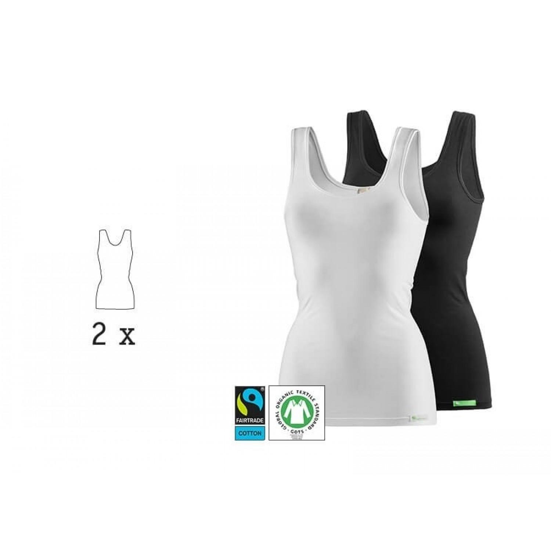kleiderhelden Bio Trägertop & Unterhemd LadyCover, 2er Pack, weiß & schwarz