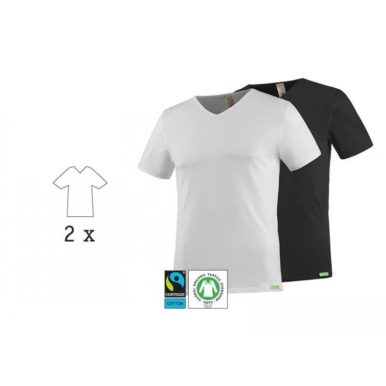 kleiderhelden 2 x SoulShirt T-Shirt, V-Ausschnitt, Bio Baumwolle