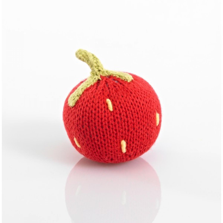 Öko Babyspielzeug Erdbeer-Rassel aus Baumwolle | Pebble