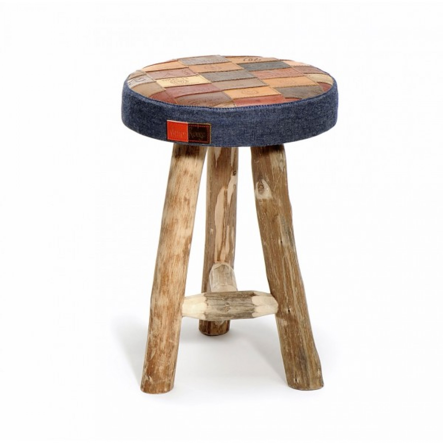 Hocker Saloon aus Upcycling Jeans Labels + Holz - L