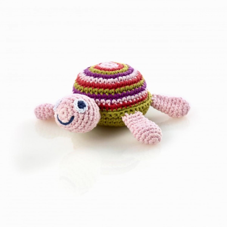 Pink Schildkröte Baby Rassel aus Baumwolle | Pebble