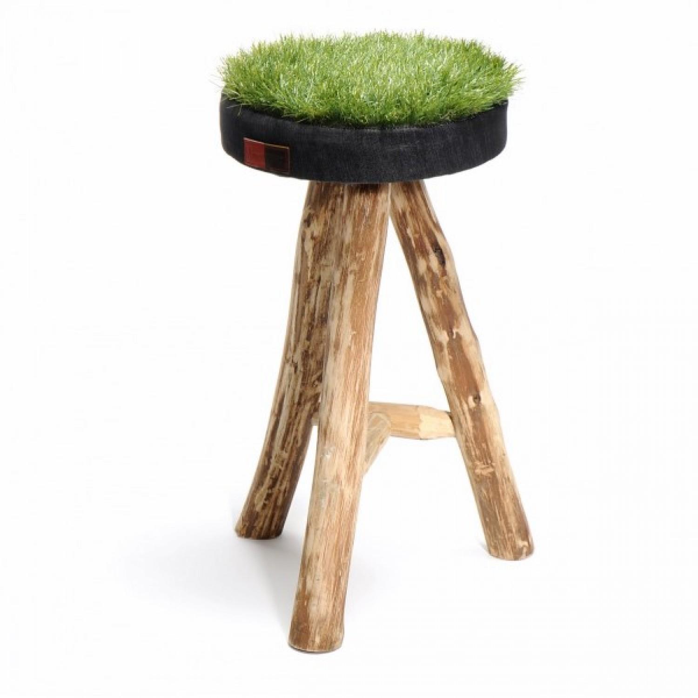 Gras-Hocker aus Recycling Synthetik-Gras + Denim XL