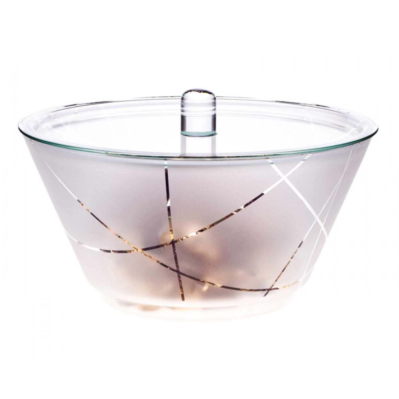 Glas Schüssel GLOBE 1,5 L satiniert mit Streifen