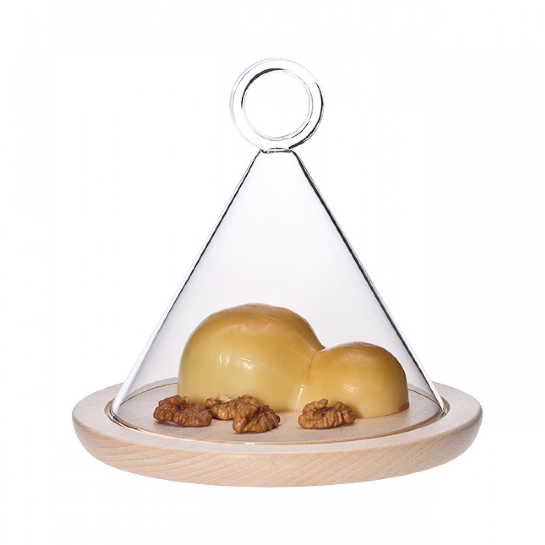 Glasglocke mit Holzuntersetzer, 18 cm | Trendglas Jena