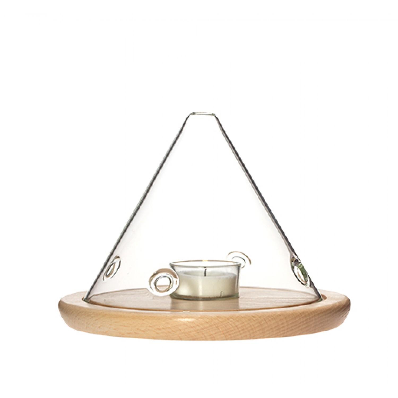 Windlicht mit Holzuntersetzer, 13 cm | Trendglas Jena