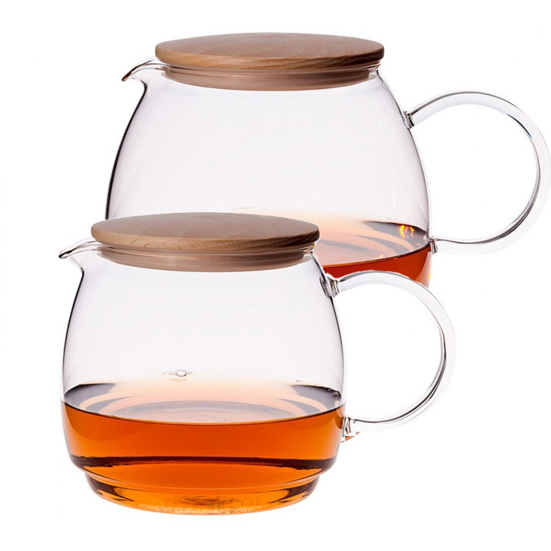 Glaskrug - Teekanne OSLO mit Holzdeckel