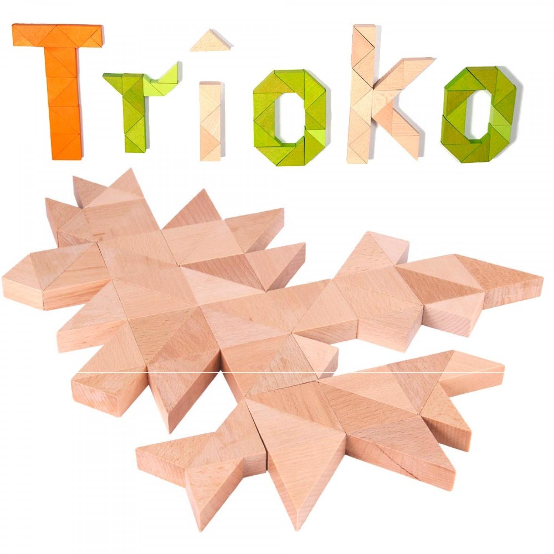 Trioko Dreiecke Holzbausteine in Natur, Grün oder Orange