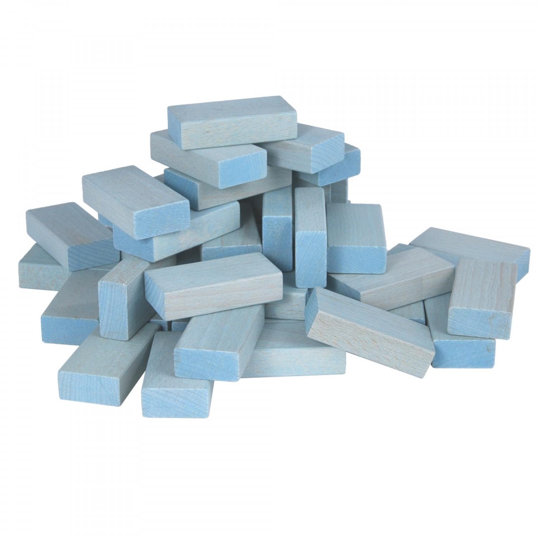 Fröbel-Bausteine aus Buchenholz, Pastellblau
