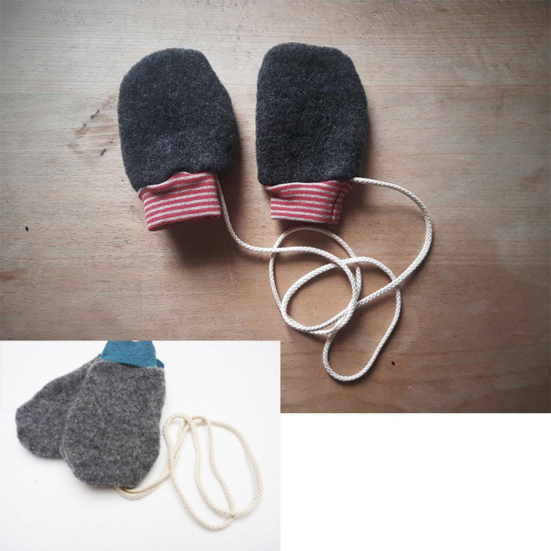 Babyhandschuhe aus Bio Wollfleece Anthrazit - Baby Fäustlinge   Ulalü