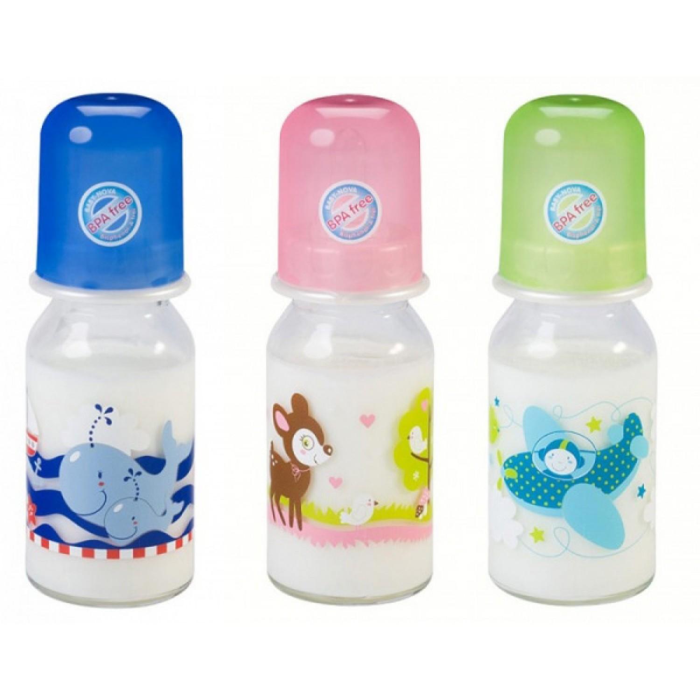 Baby Trinkflasche aus Glas mit Dekor 125 ml | BABY NOVA