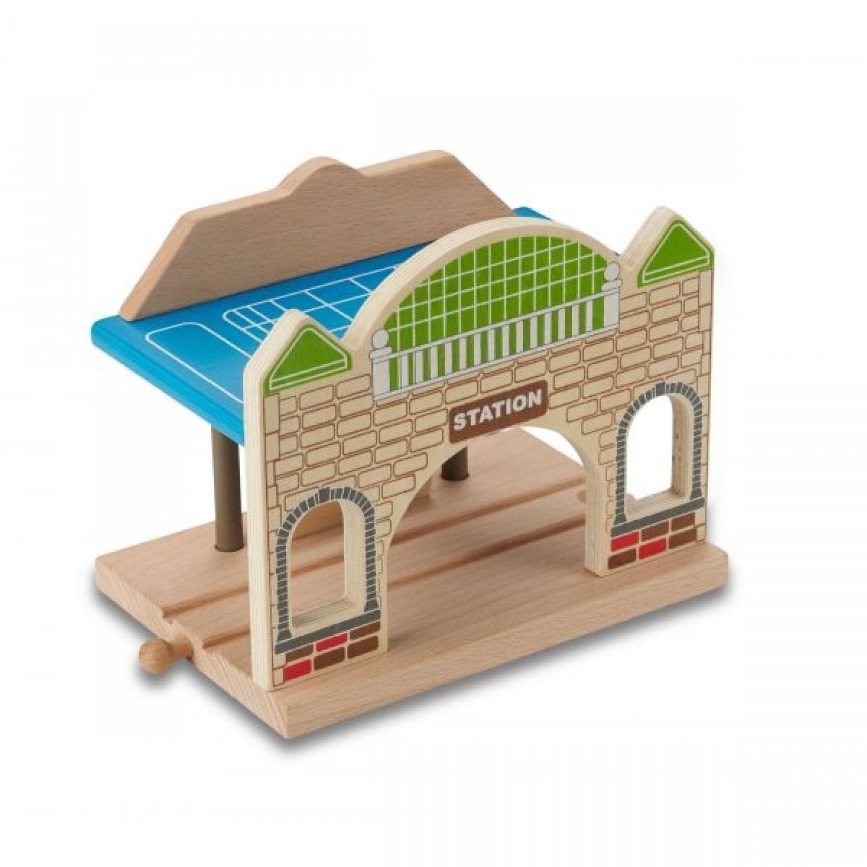 EverEarth Bahnhof aus FSC Holz für Spielzeugeisenbahn