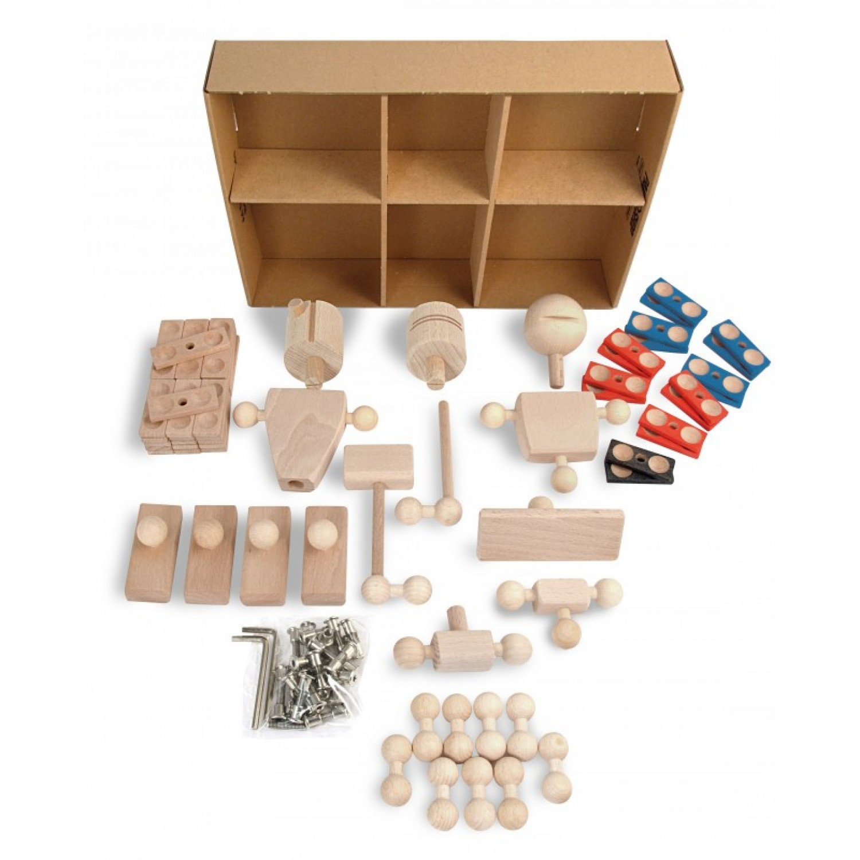 Baukasten von Helden aus Holz: kreatives Holzspielzeug