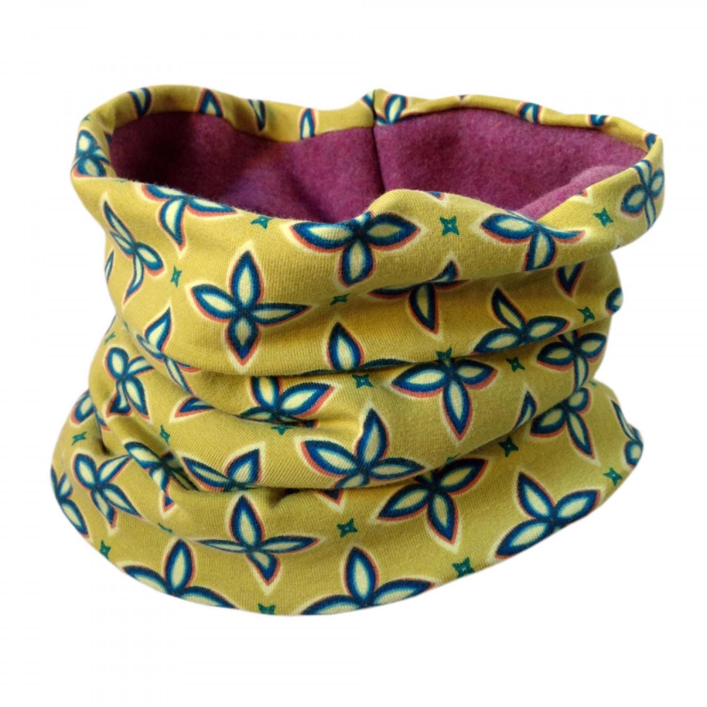 Bingabonga Winter Loop Schal Bio Fleece Gelb mit Blüten