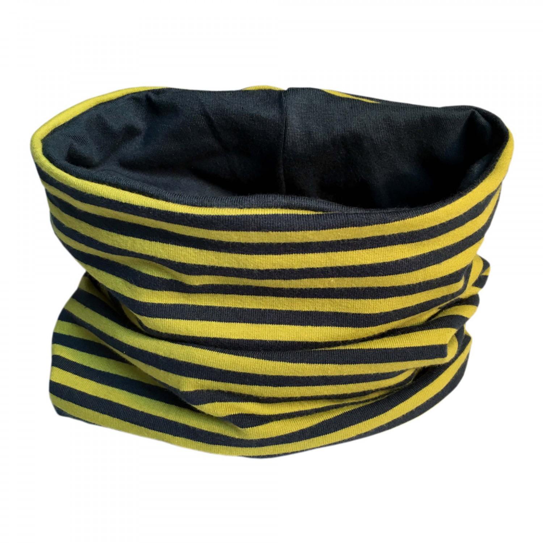 Loop Schal Kiwi/Marine gestreift & uni Marine | bingabonga