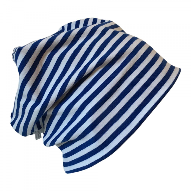 "Bio Mütze ""Line"" blau/weiß geringelt | bingabonga"