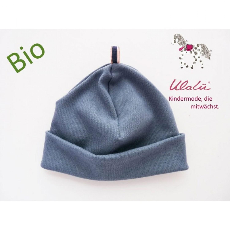 Bio Baby Mütze Blau aus Bio-Baumwolle