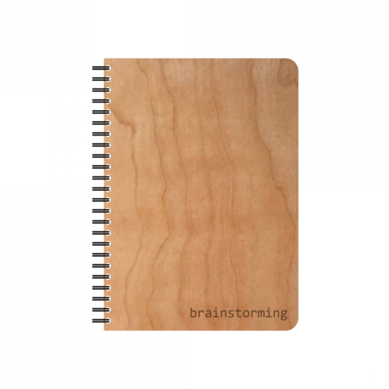 Brainstorming Öko Notizbuch mit Echtholz Umschlag