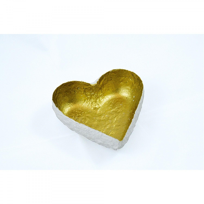 Weiß-Gold Dekoschale HERZ Fair Trade   Sundara Paper Art