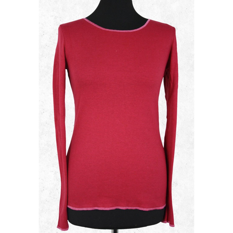 Langarmshirt rot fein gestreift mit Kontrastsaum | Jalfe