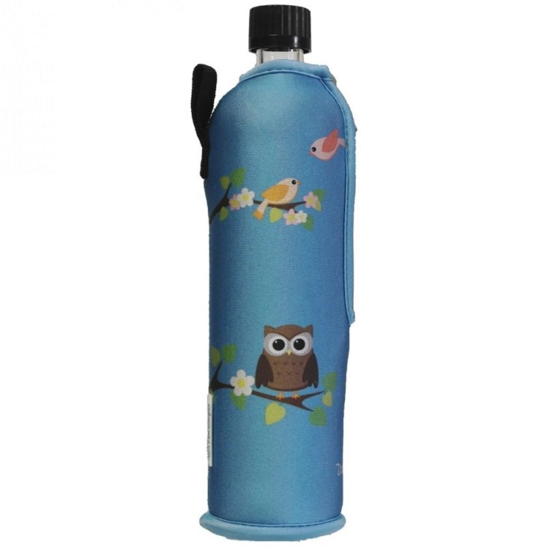 Dora's Mehrwegflasche aus Glas mit Neoprenbezug »Eule«