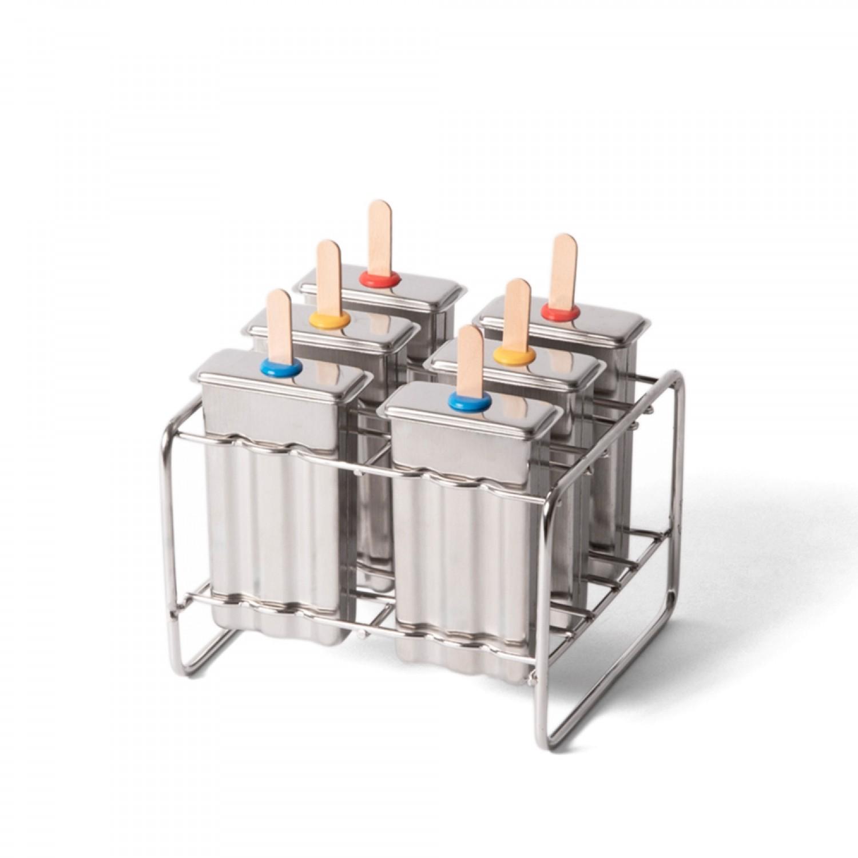 Eco Pop-Eis-Formen - ecobrotbox 6 Eisformen Popsicle aus Edelstahl