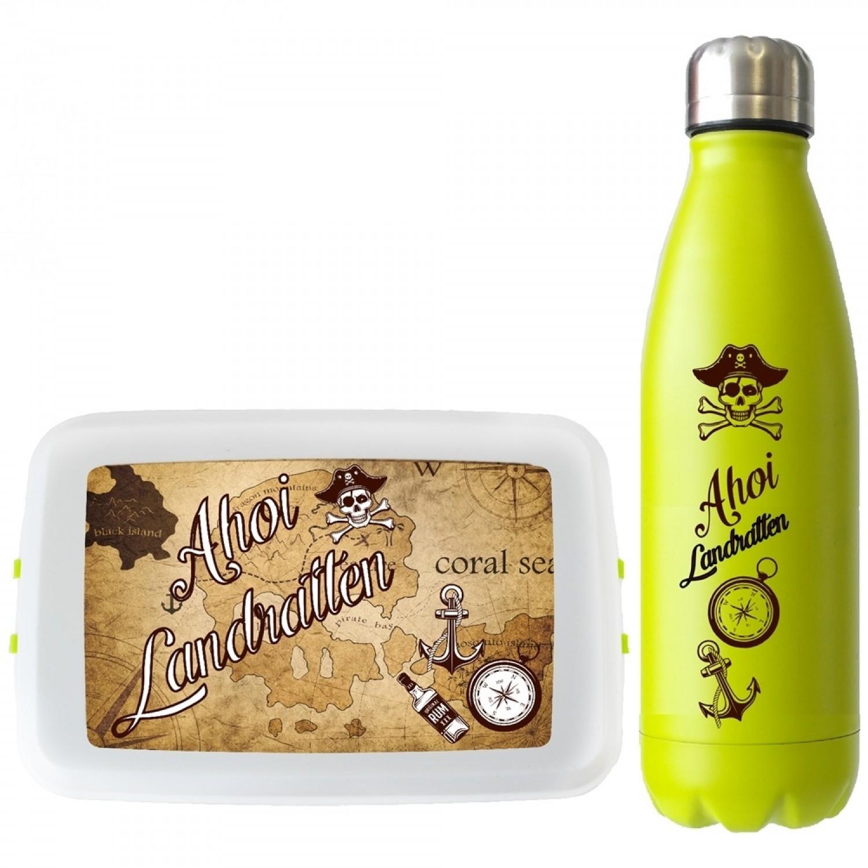 Piraten-Set: Biokunststoff Lunchbox & Edelstahl Trinkflasche