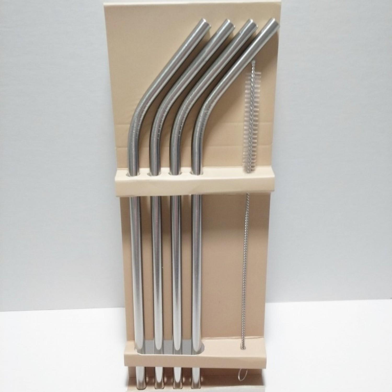4 x Edelstahl Trinkhalme, gerbogen, inkl. Reinigungsbürste | Dora's