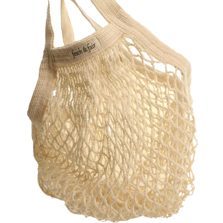 fesch & fair wiederverwendbares Bio-Baumwoll-Einkaufsnetz, kurze Griffe