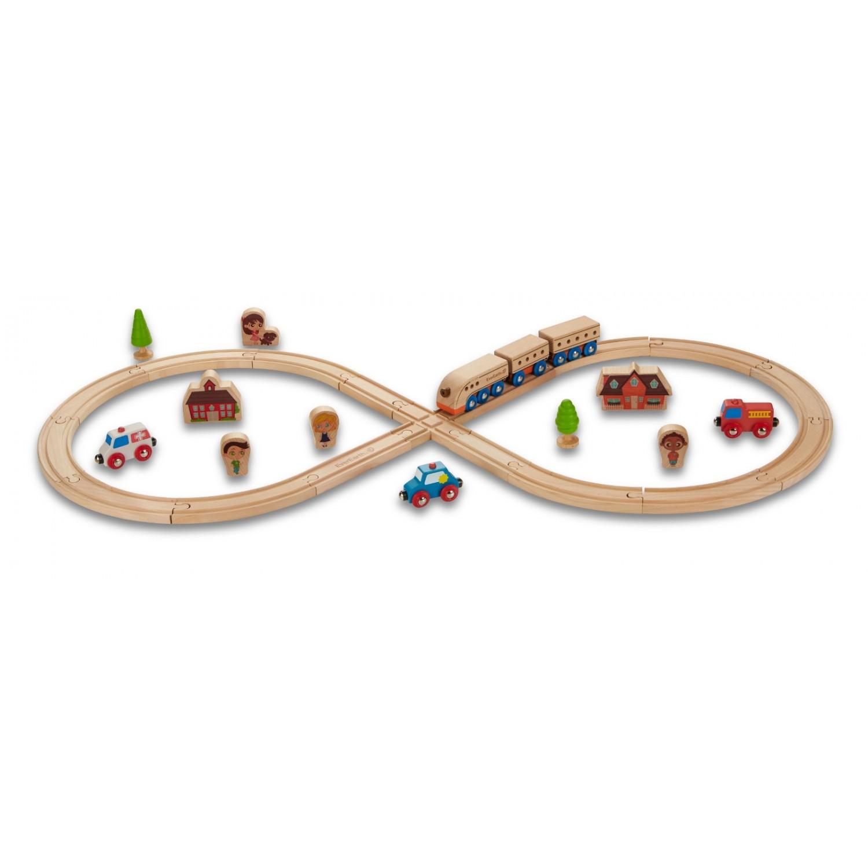 EverEarth Holz-Eisenbahn Starterset, achtförmig, aus FSC Holz
